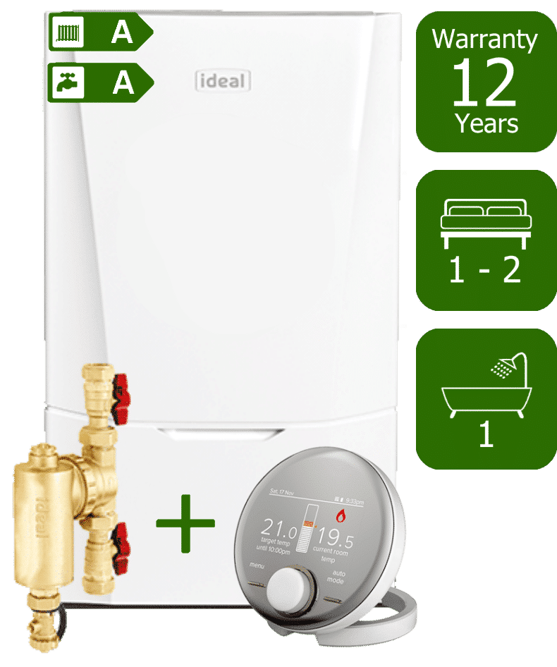 Ideal Vogue Max C26kW Combi Boiler with Ideal System Filter and Ideal Halo RF Wireless Programmable Room Thermostat
