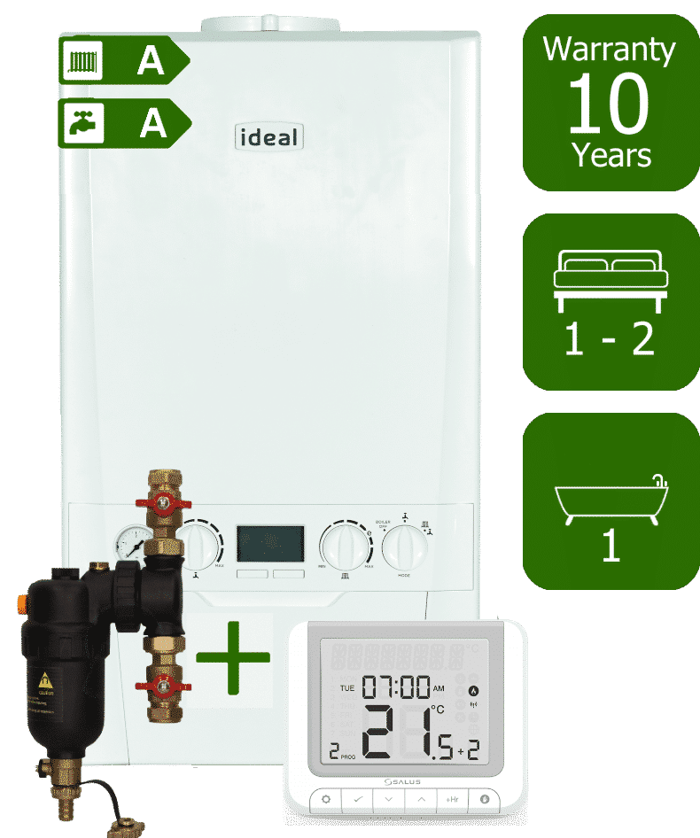 Ideal Logic Plus 24kW Combination Boiler with Smart System Filter and Salus RT520RX Wireless Programmable Room Thermostat