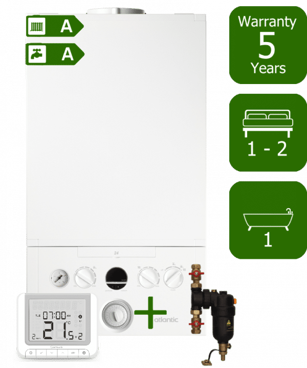 Ideal Atlantic 24kW Combi Boiler with Smart System Filter and Salus RT520RX Wireless Programmable Room Thermostat