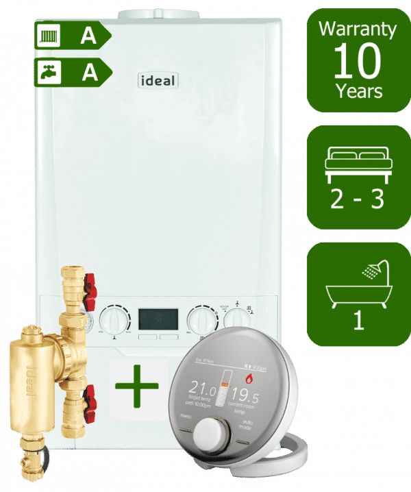 Ideal Logic Max 30kW Combi Boiler with Ideal System Filter and Ideal Halo RF Wireless Programmable Room Thermostat