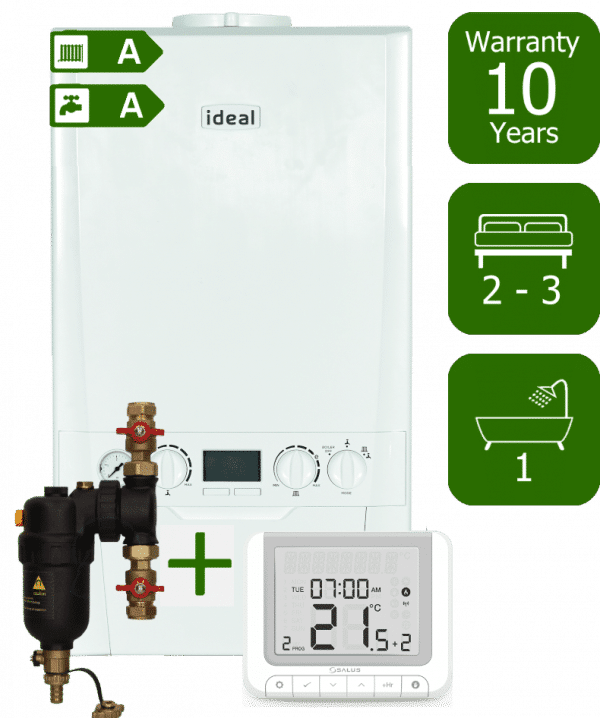 Ideal Logic Plus 30kW Combi Boiler with Smart System Filter and Salus RT520RX Wireless Programmable Room Thermostat
