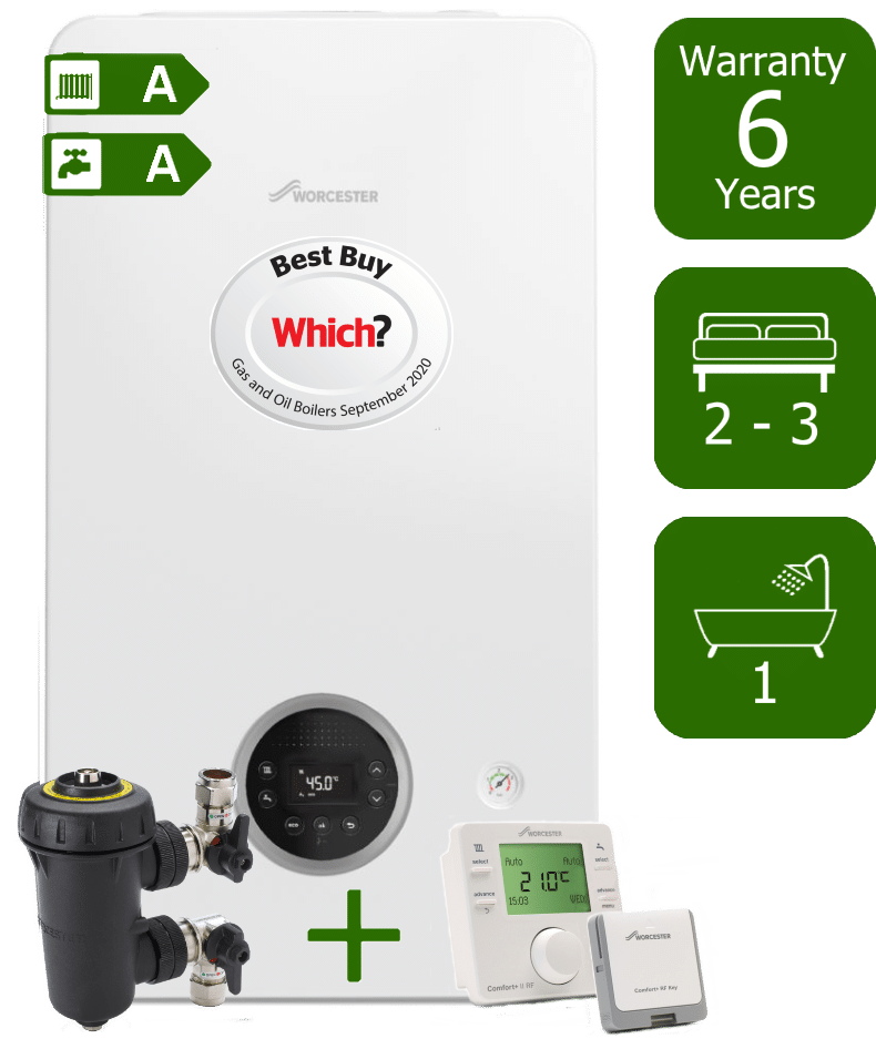 Worcester Bosch Greenstar 2000 30kW Combi Boiler with Worcester Bosch Filter and Worcester Bosch Comfort II Wireless Programmable Room Thermostat