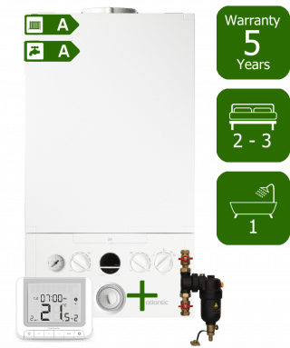 Ideal Atlantic 30kW Combi Boiler with Smart System Filter and Salus RT520RX Wireless Programmable Room Thermostat