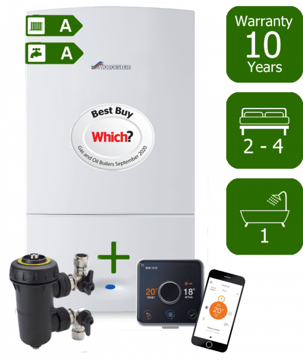 Worcester Bosch Greenstar CDi Compact 32kW Combi Boiler with Worcester Bosch Filter and Hive Active Heating Wireless Programmable Room Thermostat