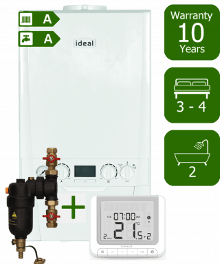Ideal Logic Plus 35kW Combi Boiler with Smart System Filter and Salus RT520RX Wireless Programmable Room Thermostat