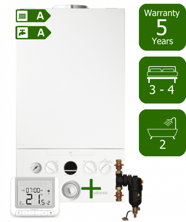 Ideal Atlantic 35kW Combi Boiler with Smart System Filter and Salus RT520RX Wireless Programmable Room Thermostat