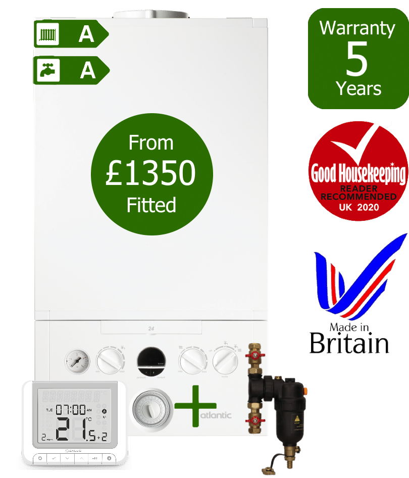 Ideal Atlantic Combi Boiler with Smart System Filter & Salus wireless programmable room thermostat