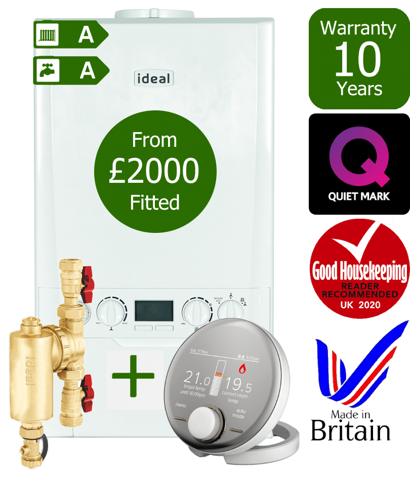 Ideal Logic Max Combi Boiler with Ideal System Filter & Ideal Halo RF wireless programmable room thermostat