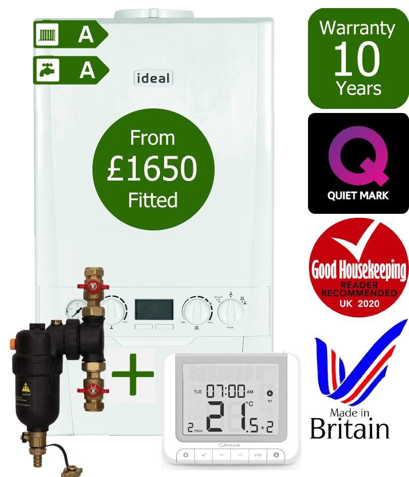 Ideal Logic Plus Combi Boiler with Salus RT520RX wireless programmable room thermostat and Smart system filter