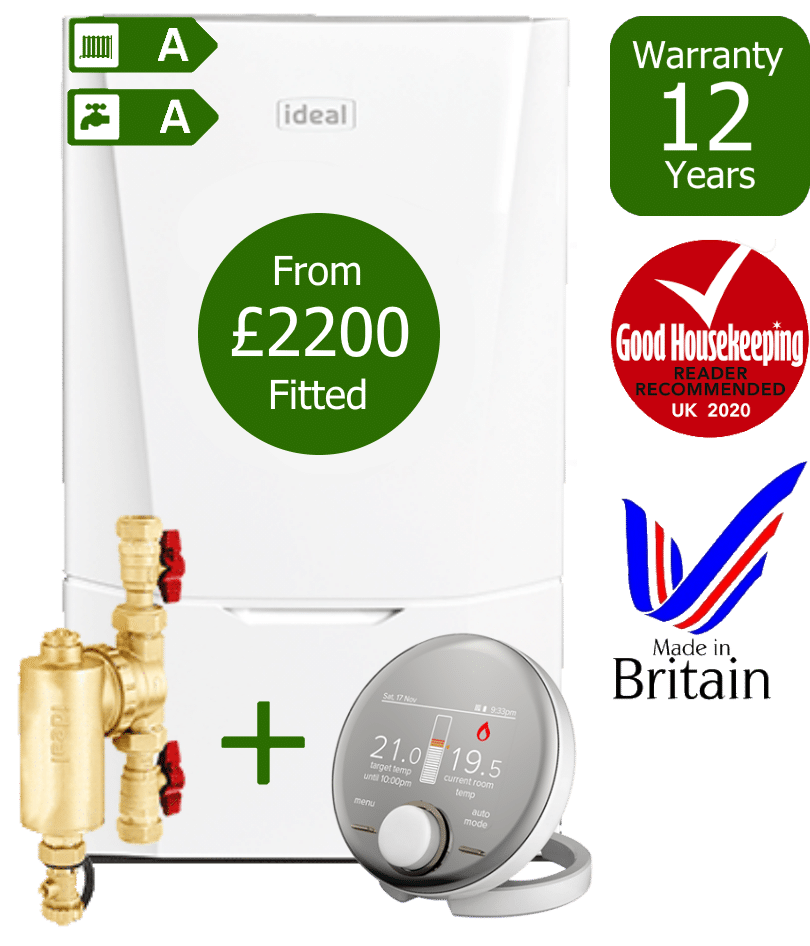 Ideal Vogue Max Combi Boiler with Ideal System Filter & Ideal Halo RF wireless programmable room thermostat