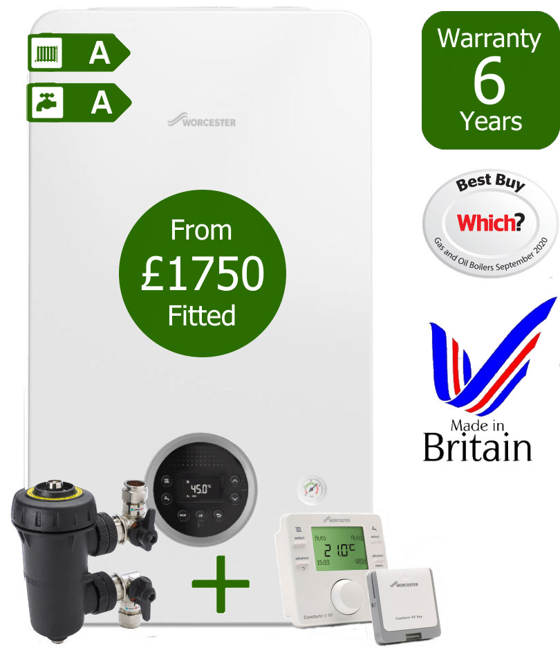 Worcester Bosch Greenstar 2000 Combi Boiler with Worcester Bosch Filter and Worcester Bosch Comfort+ II wireless programmable room thermostat