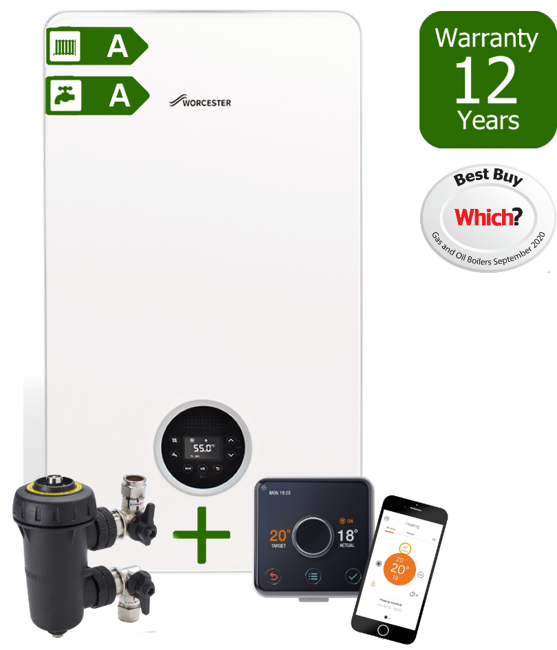 Worcester Bosch Greenstar 8000 Life Combi Boiler with Worcester Bosch Filter & Hive wireless programmable room thermostat