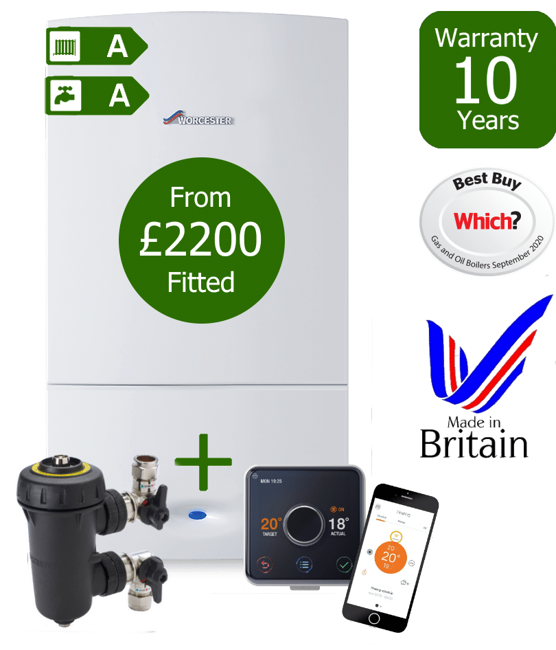 Worcester Bosch Greenstar CDi Compact Combi Boiler with Worcester Bosch Filter & Hive wireless programmable room thermostat