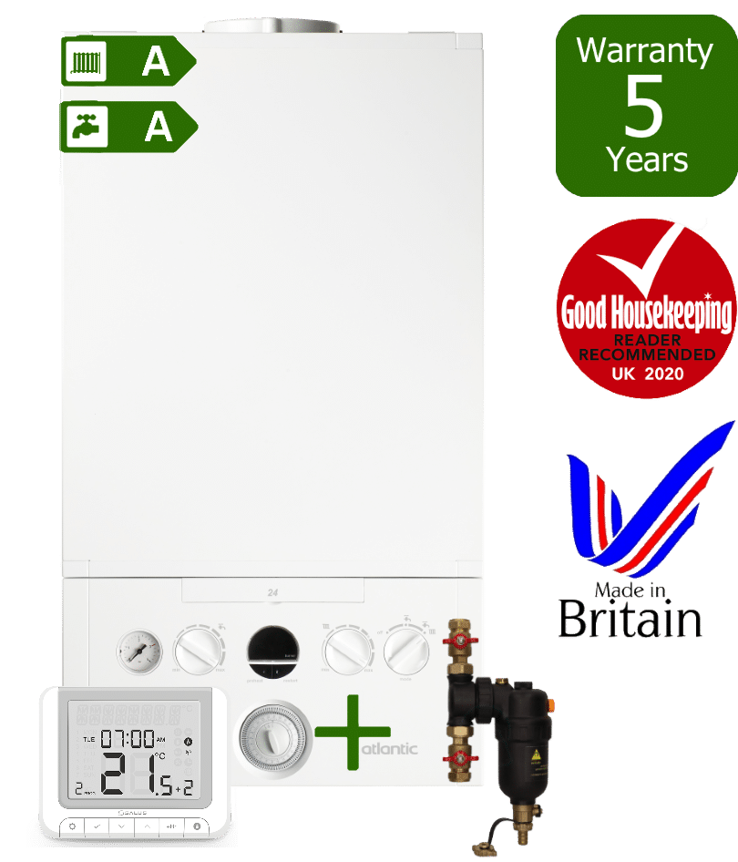 Ideal Atlantic Combi Boiler with Smart System Filter & Salus RT520RX wireless programmable room thermostat