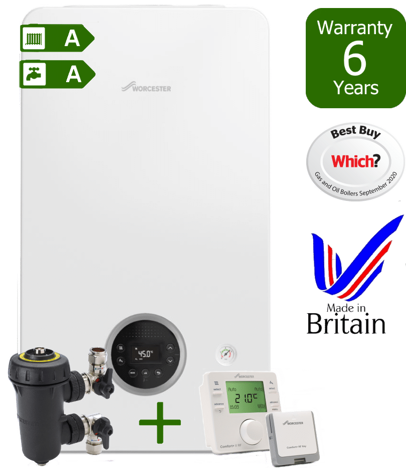 Worcester Bosch Greenstar 2000 Boiler with Worcester Bosch Filter & Worcester Bosch Comfort+ II wireless programmable room thermostat