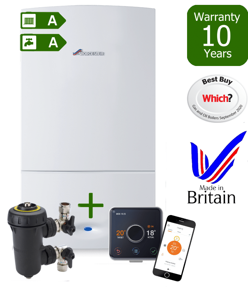 Worcester Bosch Greenstar CDi Boiler with Worcester Bosch Filter & Hive wireless programmable room thermostat