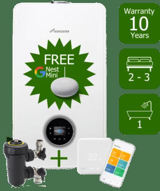 Worcester Bosch Greenstar 4000 30kW Combi Boiler with Worcester Bosch Filter & Tado Controller & Google Nest Mini