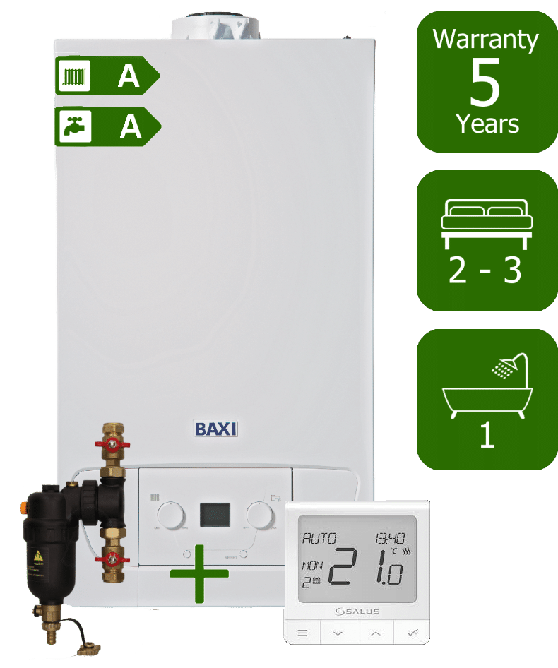 Baxi 400 Series 28kW Combi Boiler with Smart System Filter & Salus WQ 610 RF Room Thermostat