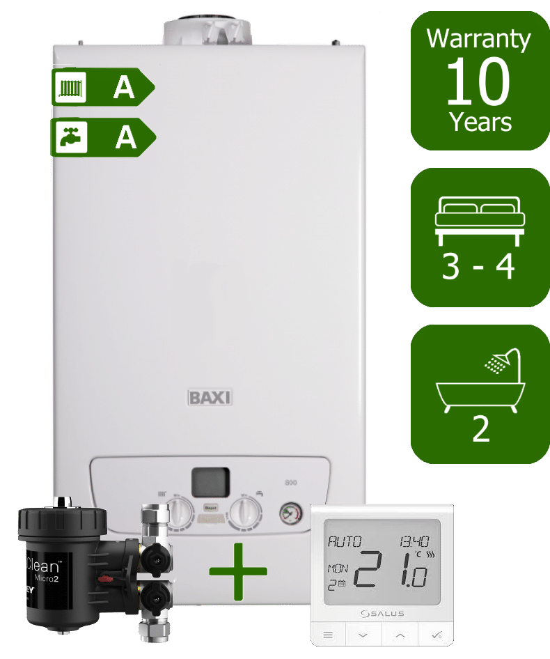 Baxi 800 36kW Combi Boiler with Adey Magnaclean Micro 2 Filter & Salus Quantum Room Thermostat